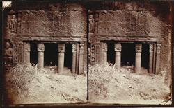 Entrance to 'chapel' at right side of verandah of Buddhist chaitya hall, Cave XIX, Ajanta